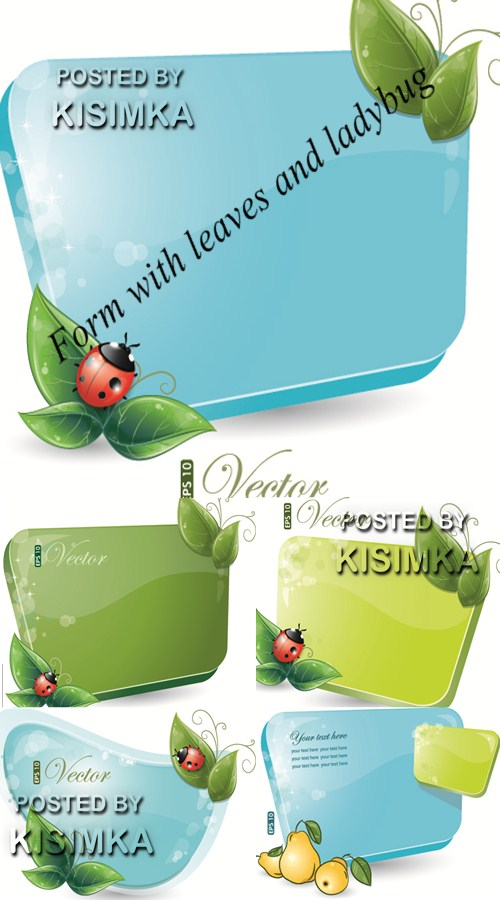 Stock: Form with leaves and ladybug