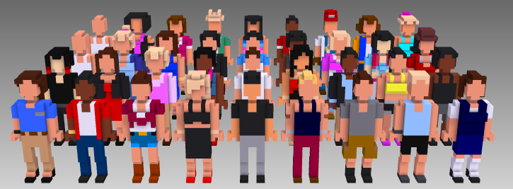 MagicaVoxel voxel people all sets