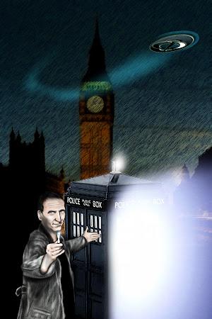 Desenho de Christopher Eccleston como Dr. Who