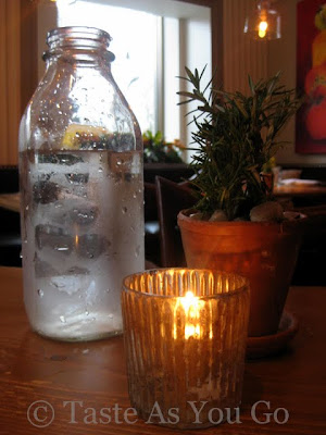Water and Table Decorations at BLT Market in New York, NY - Photo by Taste As You Go