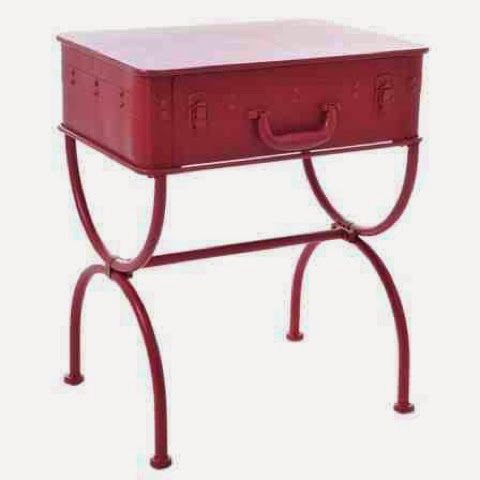 red suitcase table