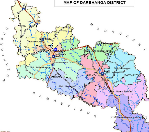 darbhanga district bihar assembly elections 2015 constituency map image