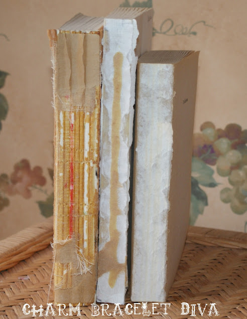 vertical three deconstructed books decor farmhouse shabby chic