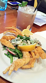 Acadia Restaurant Portland, Cornmeal-Fried Louisiana Soft Shell Blue Crab with jalapeño tartar, English Pea & mint salad, and fresh lemon, a springtime adaptation of a very popular dish.