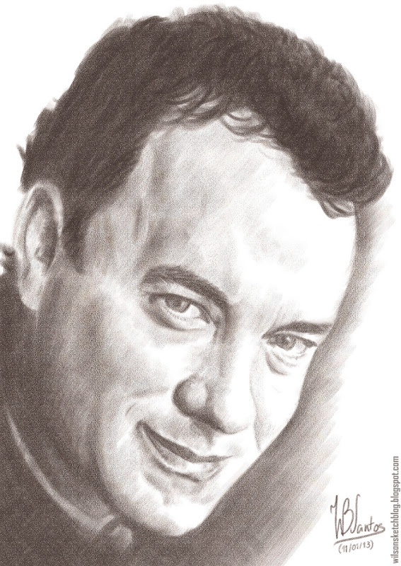 Chalk drawing of Tom Hanks, using Corel Painter.