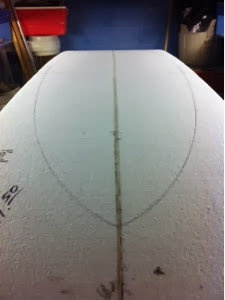 drawing the outline of a sup board custom by Paul Carter