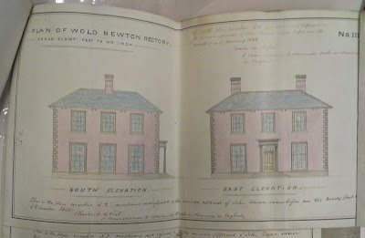 Plans for the previous rectory, built in 1850/60s and burnt down in 1935.