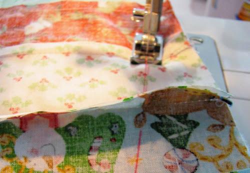 costurando retalhos patchwork