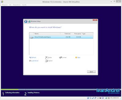 Instalación de Windows 10 - VirtualBox - Seleccionar disco