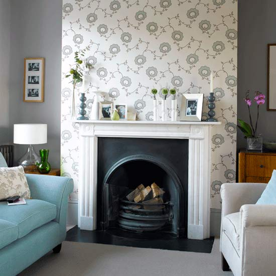 Pleasant living a little early spring cleaning - Feature wall ideas living room with fireplace ...