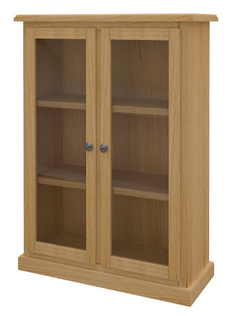 York Glass Door Bookshelf in Ginger Maple