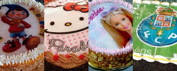 Personalize a sua festa com bolos com imagens de personagens ou com a fotografia do aniversariante. Parabéns!