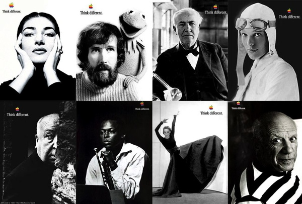 A collage of Apple's Think Different campaign featuring notable artists, politicians, and adventurers.