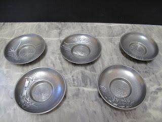 錫半 絵変わり 茶托 5枚 箱なし 買取例