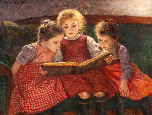 Walter Elmer Schofield - Three reading girls