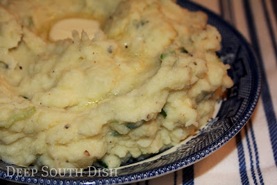 Mashed potatoes whipped with a green onion infused milk.