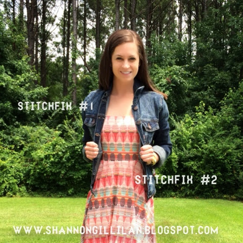 Stitch Fix Just USA Dark Wash Denim Jacket Mystree Keara Abstract Dot Dress www.shannongillilan.blogspot.com