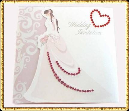 Invitación para boda con novia al frente