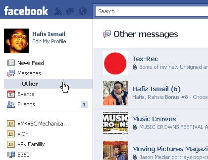 Note: Email send by your facebook friends will be shown on facebook ...