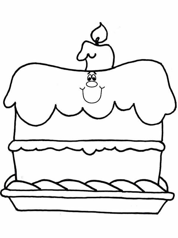 Pinto Dibujos: Torta de cumpleaños para colorear
