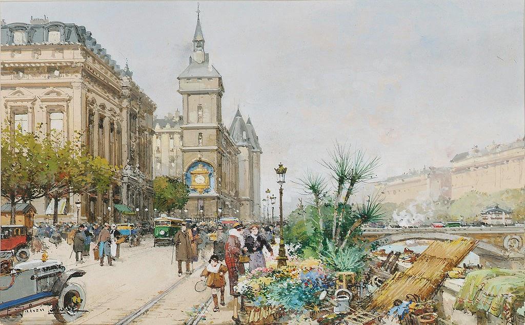 Eugène Galien-Laloue - Paris Quai de l'Horloge Flower sellers