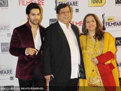 Varun Dhawan with parents David and Karuna during the 58th Idea Filmfare Awards, held in Mumbai.Click here for:<br />  58th Idea Filmfare Awards