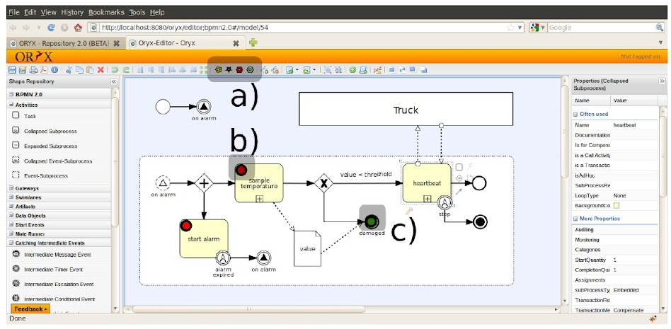 圖5. Web-based model editor for BPMN modeling, simulation and debugging of wireless sensor networks