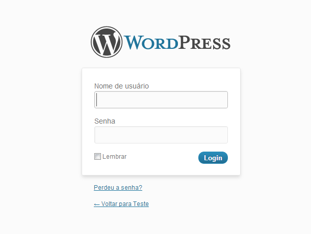 Área de login do WordPress
