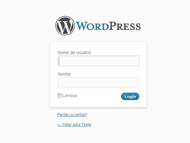 Área de login do WordPress