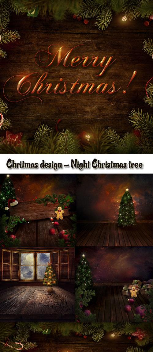 Stock Photo: Chritmas design - Night Christmas tree