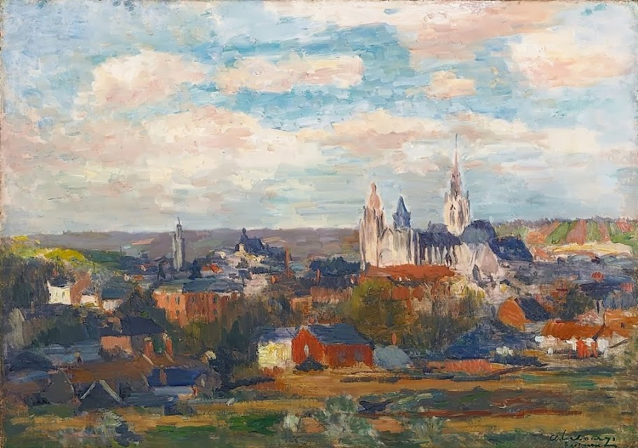 Albert Lebourg - Vue d'Evreux avec la cathédrale Notre Dame
