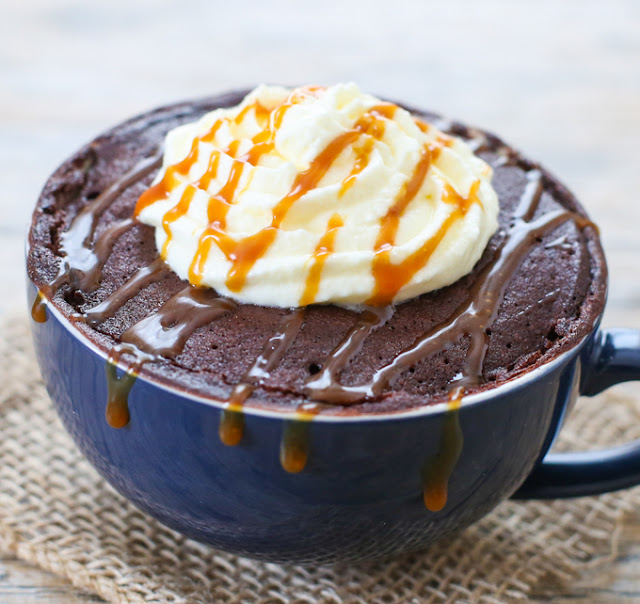 photo of a Salted Caramel Mocha Mug Cake with whipped cream