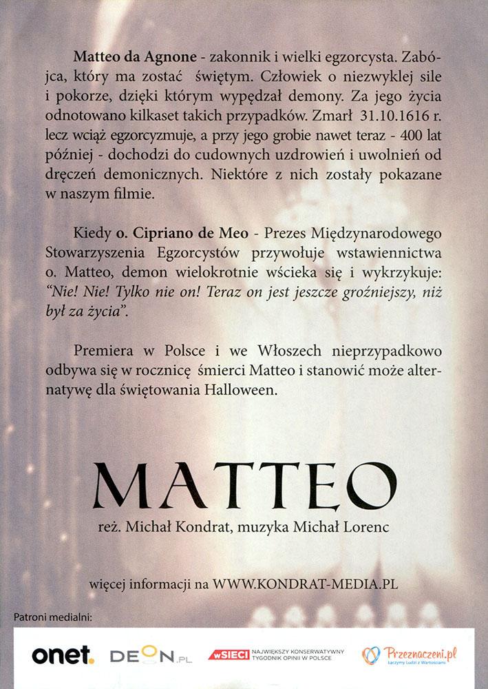 Ulotka filmu 'Matteo (tył)'