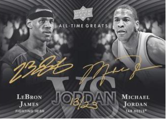 2012-13 Upper Deck All Time Greats Michael Jordan - LeBron James Dual Auto