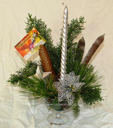 6 kerststukje in glas zilver w.JPG