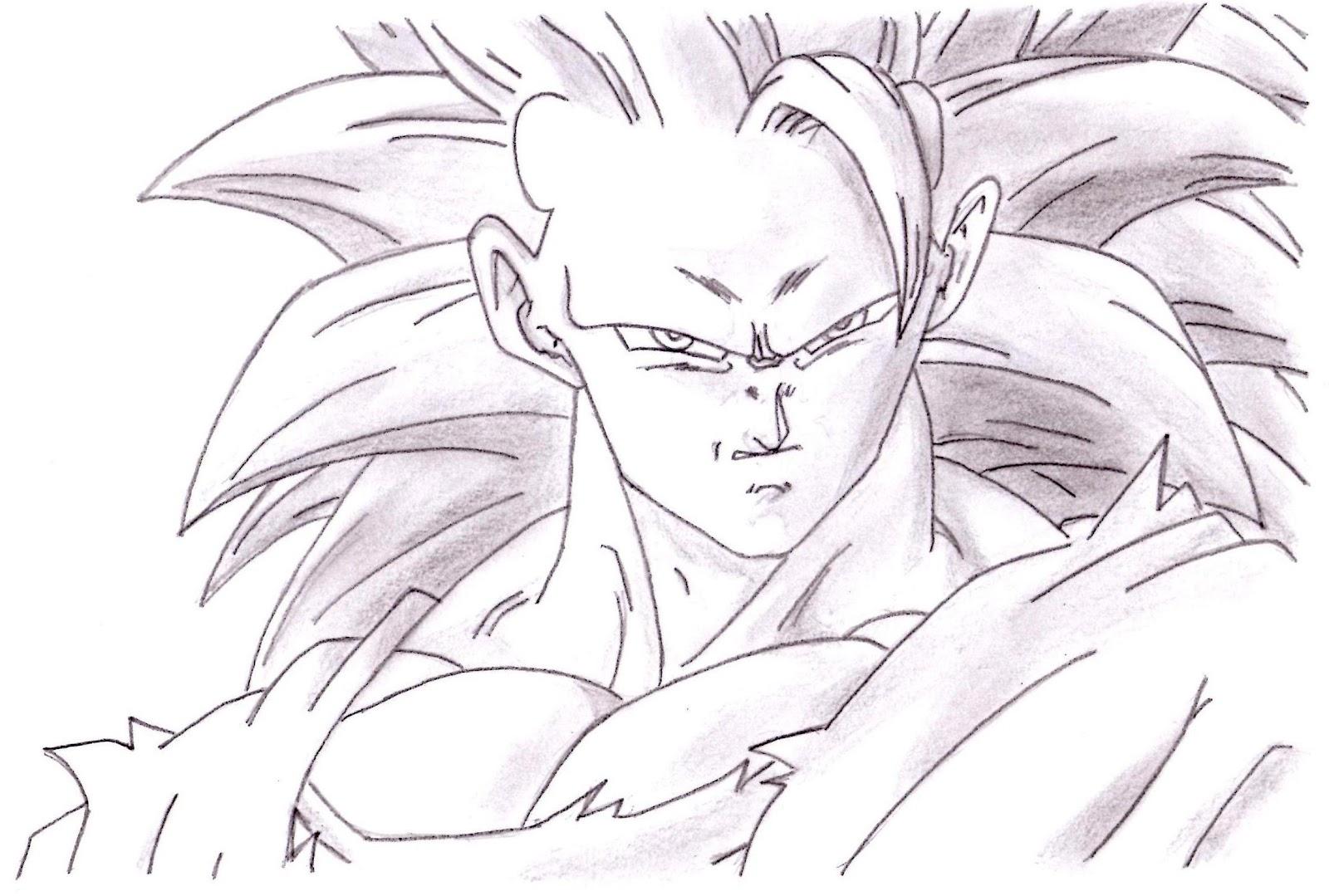 Como Dibujar A Goku Super Sayayin: Imagenesde99: Imagenes De Goku Ssj4 A Lapiz