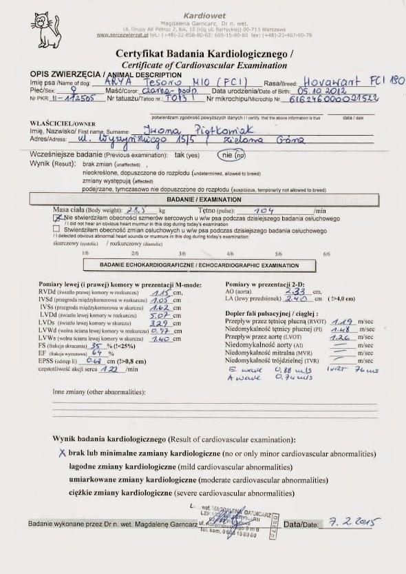 Certyfikat badania kariologicznego