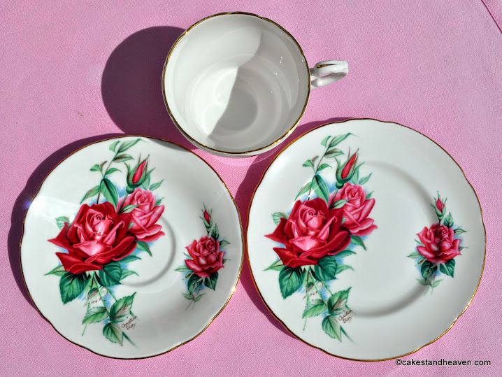 Royal Standard pink rose teacup, saucer, tea plate