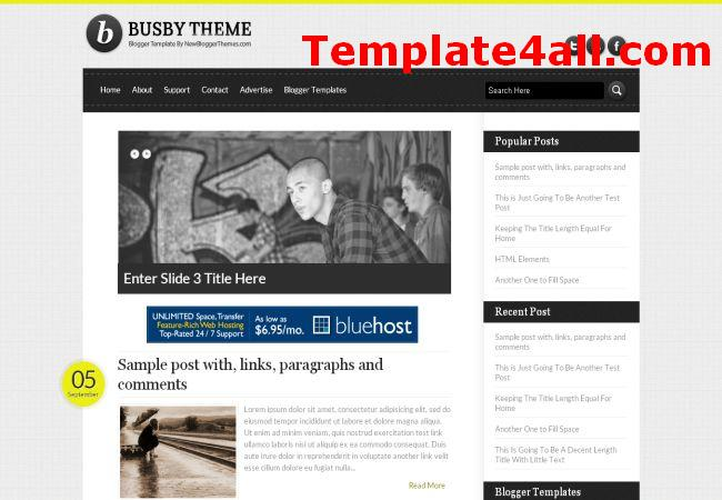 White Black Magazine Blogger Template