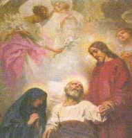 San Giuseppe morente tra Gesù e Maria (D. Corompai, 1927)