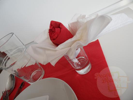Idea para doblar las servilletas en San Valentín.