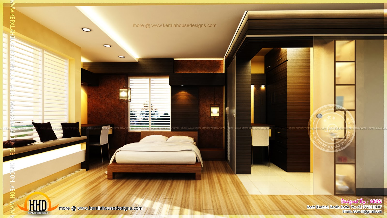 Apartment interior designs by aeon cochin kerala home for Small bedroom with attached bathroom designs