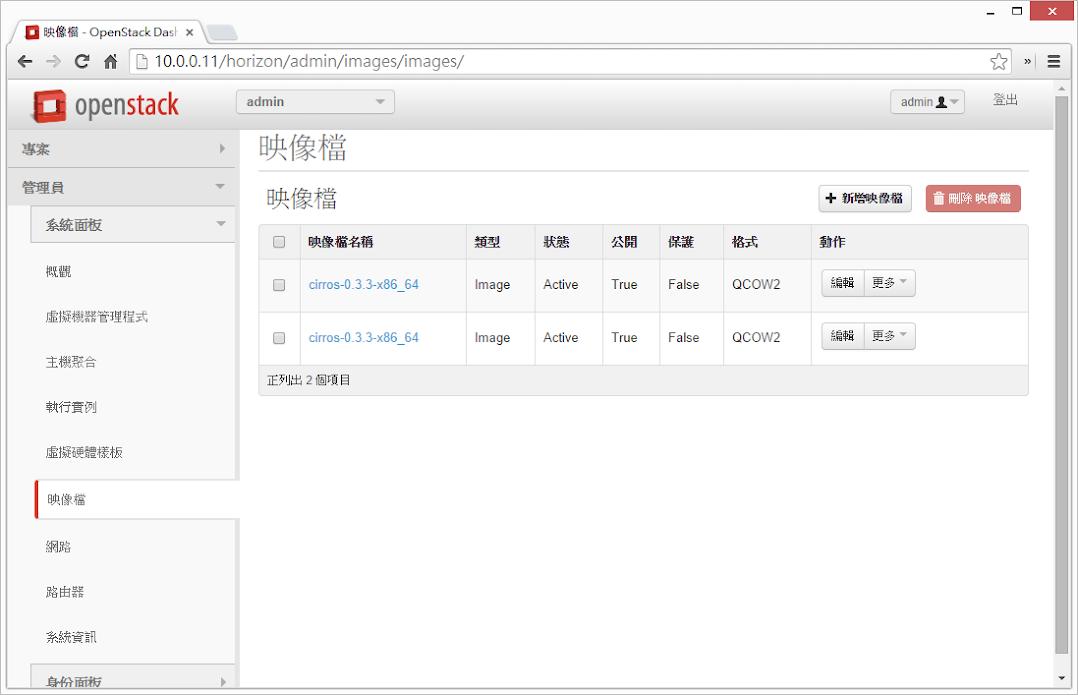 Horizon >> 管理員 >> 系統面板 >> 映像檔