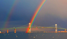 rainbow sunset over Newport, RI