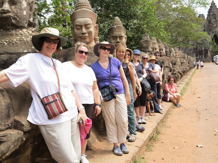 Group photo at the South Gate of Angkor Thom in Cambodia