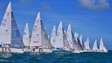 J/24s sailing off starting line- J/24 Midwinters Miami