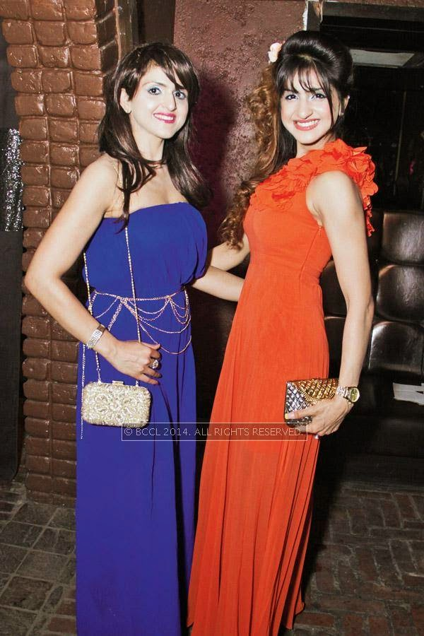 Neha and Juhi during Kriti Dhir's birthday party, held at The Mansion Club in Garden Of Five Senses, New Delhi.