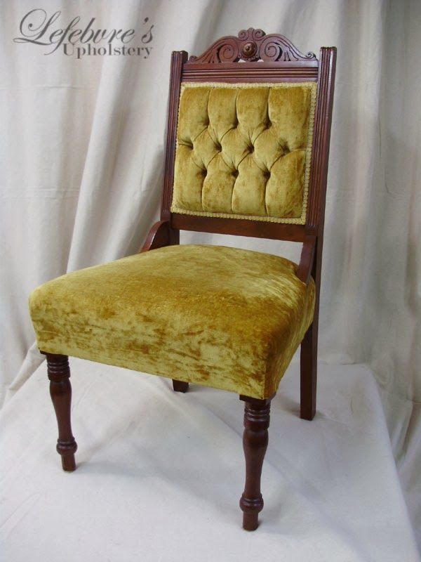 As soon as I had seen this chair, I was excited (because I love antiques),  but I also felt that something was wrong about it... The seat just didn't  look ... - Lefebvre's Upholstery: Victorian Tufted Parlor Chair - Denim Blue