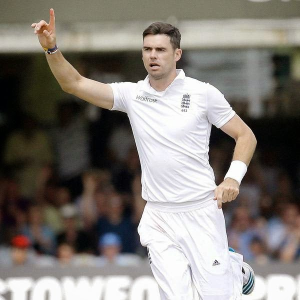 England's James Anderson celebrates the wicket of India's Virat Kohli during the first day of the second test match between England and India at Lord's cricket ground in London, Thursday, July 17, 2014.