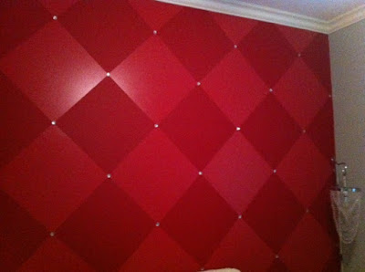 Diamond pattern painted on a teen's room. Gems glued on add just the right touch of class!